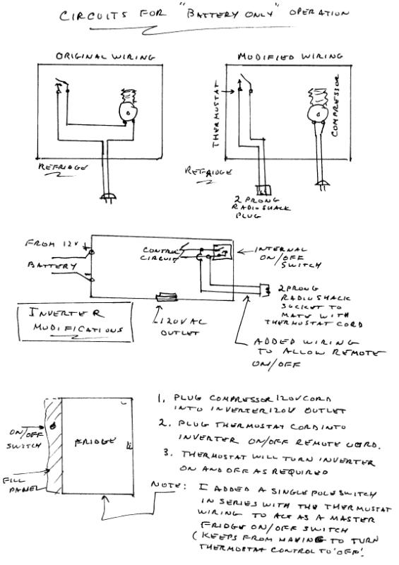 Refrigerator conversion battery only wiring diagram runs the fridge on battery only with control of the inverter by the fridge thermostat cheapraybanclubmaster Image collections